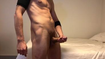 Stud masturbating big uncut cock and cumming everywhere