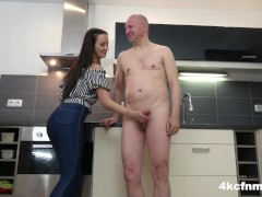 Cute Teen Studying Out Old Timer's Jizz