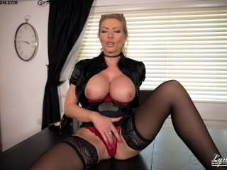 British Milf Lynda Leigh Office Tease Domination Boss wants you to jerk off