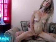 Peppermint and Dusty fuck on the chaise lounge with creampie and squirt