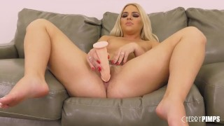 Big Ass Blonde Solo Masturbating Her Trimmed Pussy With a Dildo and Hitachi