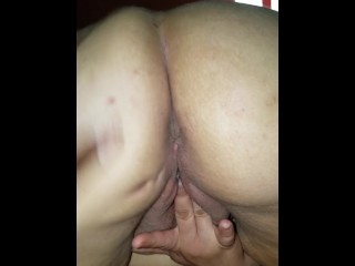 Pawg pushes out creampie  and a fart lol