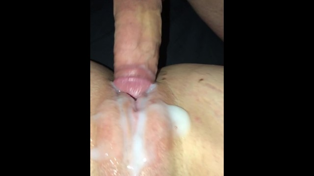 Wifes sweet pussy Husband eats up his massive cum shot he deposited on his wifes sweet pussy.