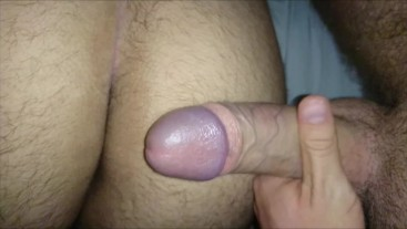 Jerking my big dick over best friends hairy ass who is straight