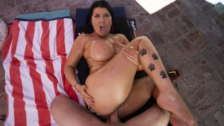VR 180 - Romi Rain's getting fucked poolside