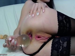 Teen destroys her asshole big glass plug and does gape
