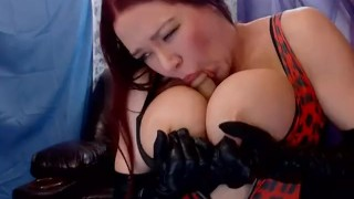 Big Tit Camgirl Masturbates in Long Gloves and Boots