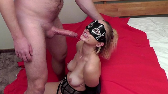 Tied up and given hand job Hands tied brutal sloppy deepthroat. she almost bite the cock off 4:50