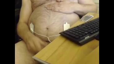 pregnant man with labor simulator