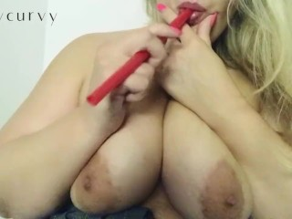 Caurvy mouth tease with straw and stripping