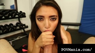 Sexy Cock Sucking Latina Frida Sante Sucks Dick In Gym!