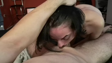 Morning blowjob and deep throat to my stepbrother