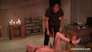Hardcore BDSM With Ankle And Wrist Cuffs Electro Stimulation And Domination