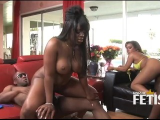 Two horny black couples swing partners during sex session