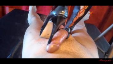 balls busting crushing misstress cbt cock sounding slave cum shoes
