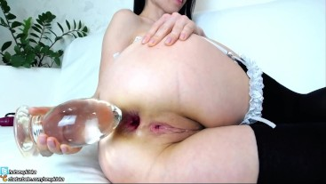 Schoolgirl insert extreme big anal glass plug in ass