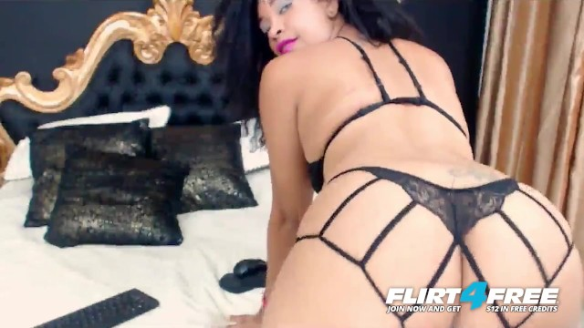 Alice Madisson on Flirt4Free - Ebony Babe w Big Beautiful Ass Rubs Pussy