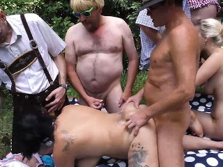 real outdoor oktoberfest group orgy Mia Bitch
