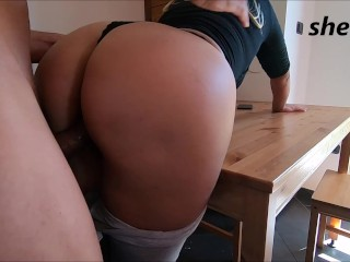 stepson cums inside step mother, with a nice round ass…