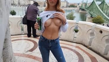 "Gellért Hill Budapest Risky Public with Horny Hu Teen "" Evening Blowjob """
