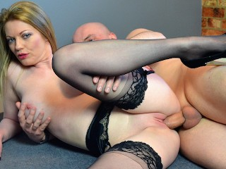 Hot Boss Milf in Stockings Fucks Big Cock Employee Red Lipstick Blowjob Big Johnny, Holly Kiss