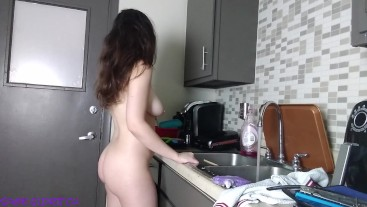 Washing the Dishes Naked: Ass and Tits Jiggling