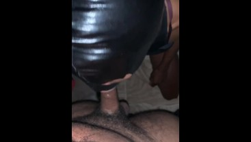 Tongue play then SWALLOWING DICK WHOLE (no cum