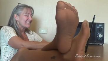 Office Dangle n Tease of Pantyhose Feet