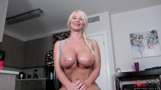 BTS interview with busty blonde MILF London River