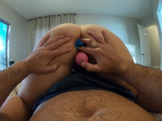 First Time with a Butt Plug and Double Penetration with my Dildo with Cream