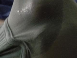 She jerks off stepda cock in his underwear making him moan so loud
