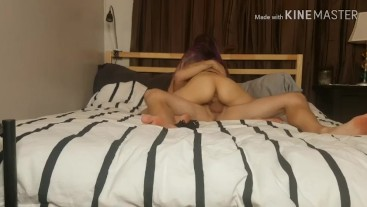 Summer toye bouncing on hard cock till she cums