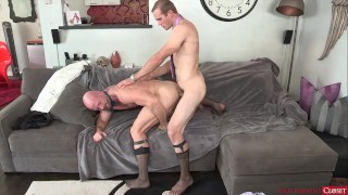 Sexy Daddy Fucked in Sheer Socks