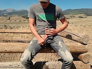 Public jeans piss road trip through the mountains