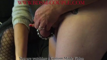 Miss M. puts HOT CHILI PASTE on her slave's CAGED COCK!