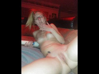 Shoving my panties in my pussy then using my wand
