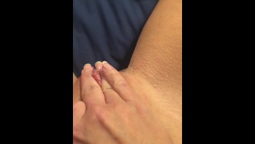 Amazing Orgasm, freshly waxed and dripping pussy. Daddy has been away.
