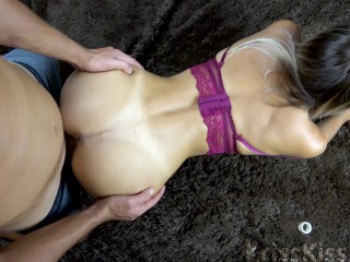 Teen in Stockings Hard Rough Sex and Cumshot on Natural Tits