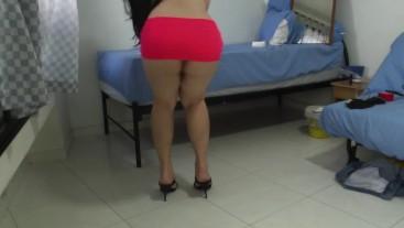 Regina Tifa asian crossdresser in pink, flexing and posing in high heels!