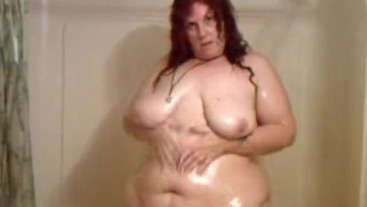 BBW in the Shower showing off her big belly, thighs, ass and tits - Not HD