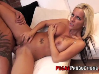 Sexy blonde darling is sucking dick as deep as she can swallow it just for