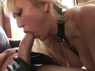 hot big tit blonde fucks and sucks in latex