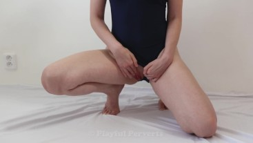 Teen in sport swimsuit teases you, slaps and fingers her shaved pussy