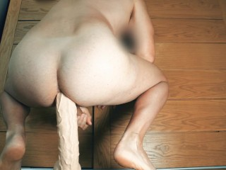 Squatting on a huge inches dildo for my asshole