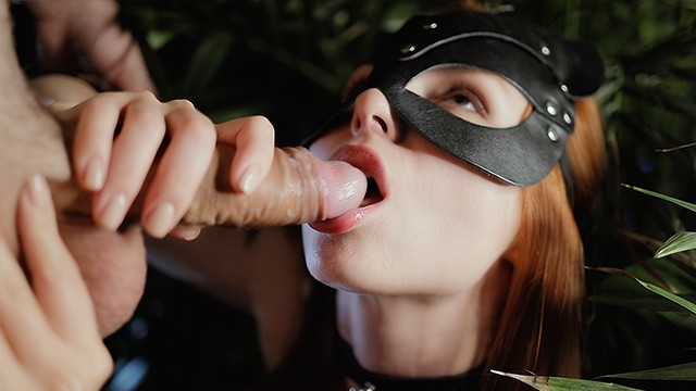 My cat licks my ears - Oral creampie in night jungle. little thirsty cat found her sweet cum-meal
