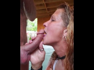Milf Daizy Layne Deepthoats Cock and Sucks on Balls in Hot Tub