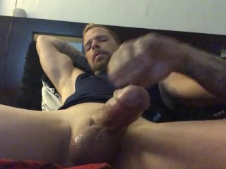 Not easy making a big cock cum