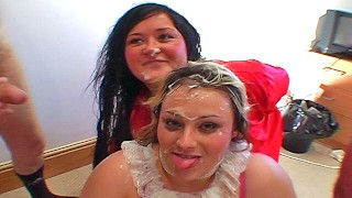 Fat British greedy girls real amateur bukkake party