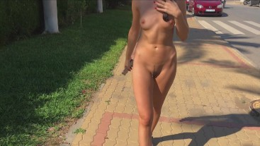 Risky nude walk on busy street caught by a motorcyclist. Amateur MiaAmahl.