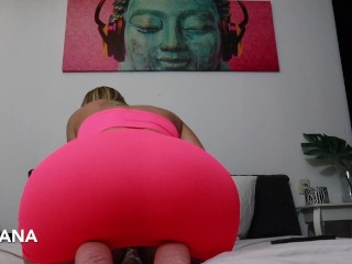Pushing huge balls out of her asshole